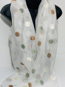 Silk mix embroidered dot scarf in white