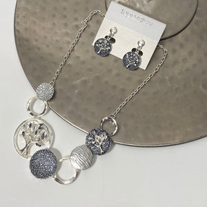 Tree of life design short necklace and earring set