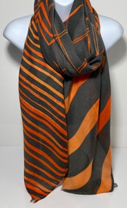 Orange and grey zig zag design scarf