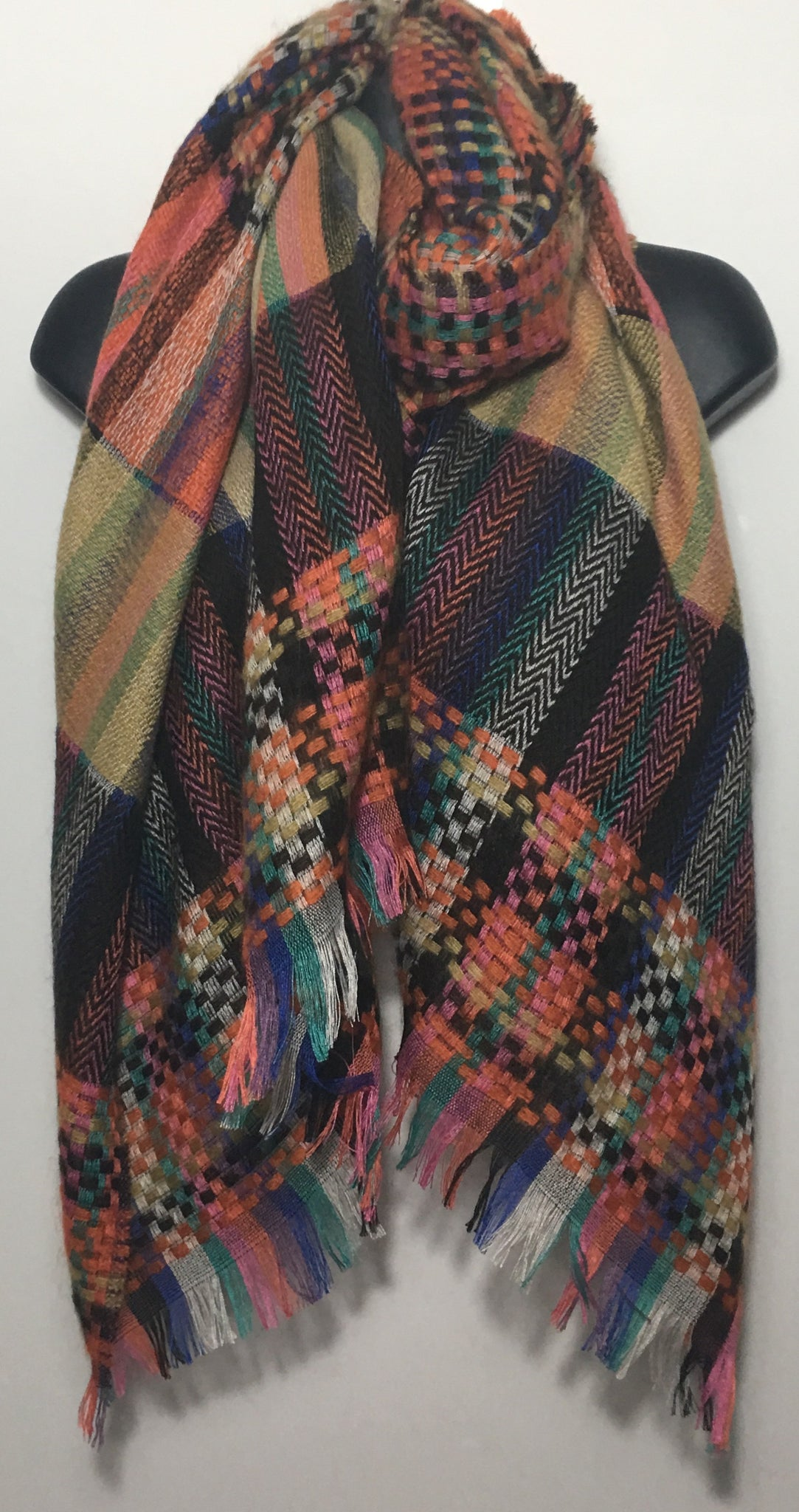 Abstract woven scarf in shades of beige orange and black