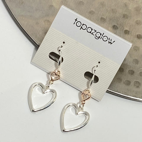Dangly double heart drop earrings
