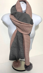 Two-tone split pom pom end scarf in various colours