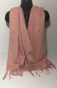 Super soft pink pearl scarf