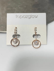 Rose gold circular diamanté drop earrings