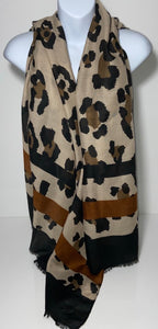 Tan animal print scarf