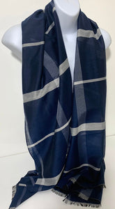 Silk-mix checkerboard scarf in various colours