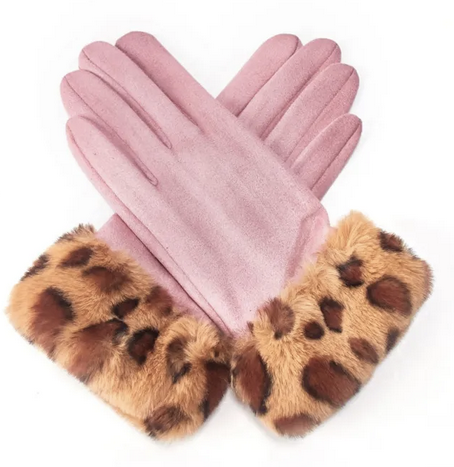 Pink coloured leopard print cuff faux fur gloves