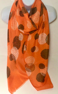 Bubbles design scarf in orange, white and black