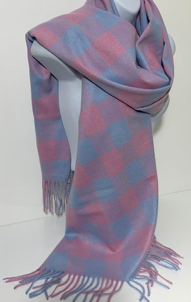 Checkerboard cashmere-mix scarf in various colours