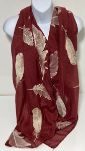 Embroidered feather scarf in wine