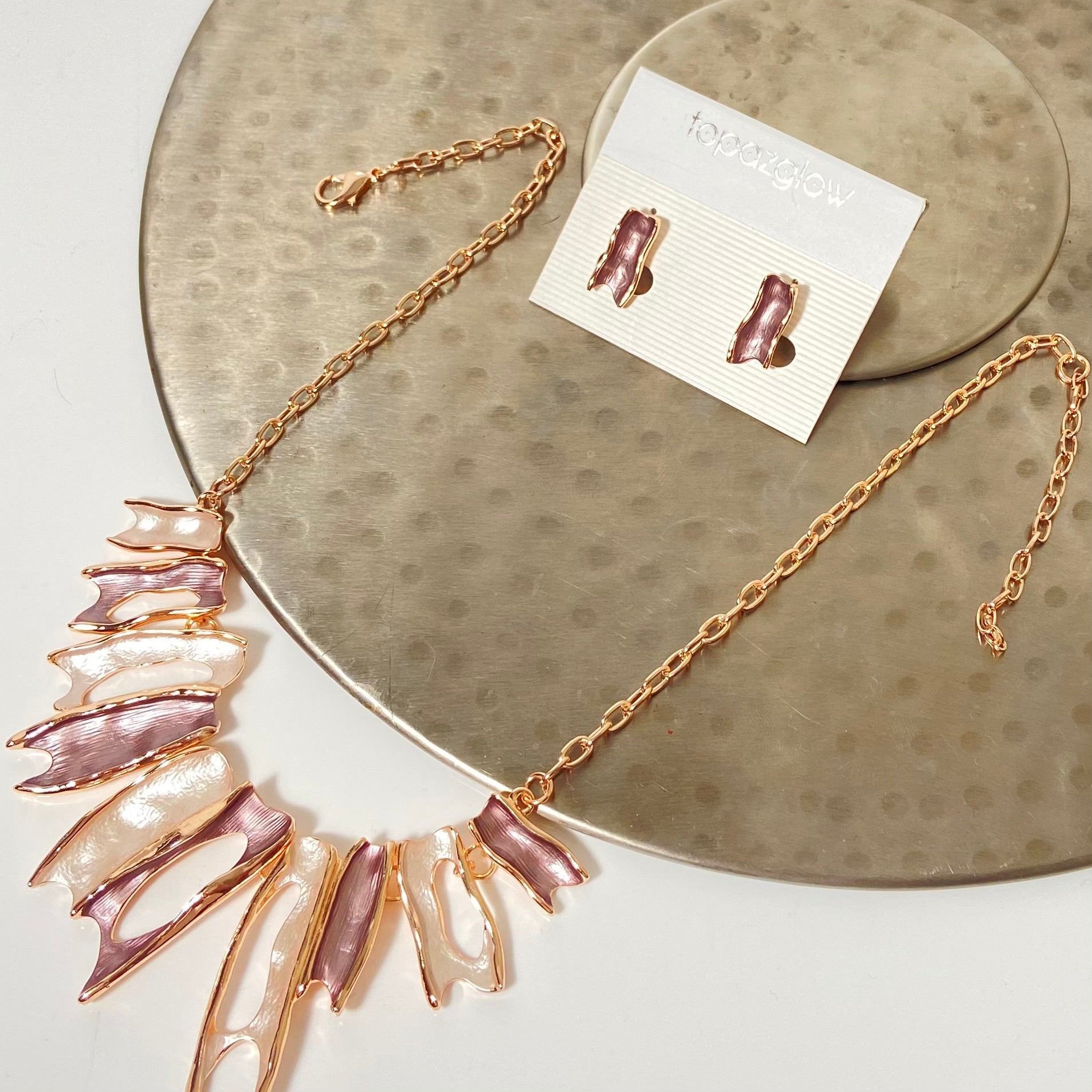 Pink, rose gold and cream necklace and earring set