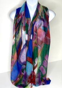 Multi-colour abstract print scarf