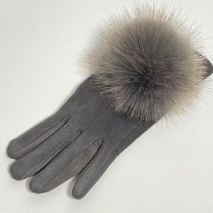 Grey Faux Fur Ball Gloves