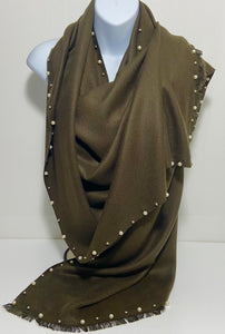 Super soft, studded pearl edge scarf in dark olive green