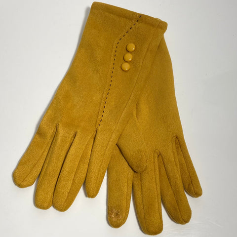 Mustard button stitch gloves