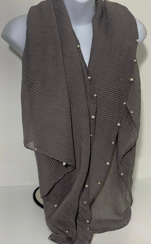 Crinkle grey studded Pearl edge scarf