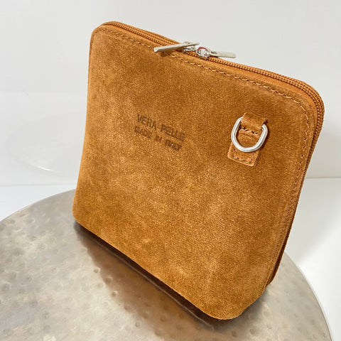 Tan cross-body suede bag