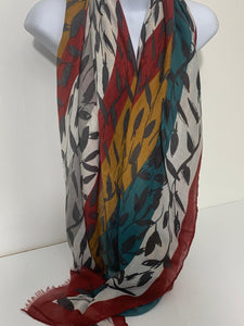 Red, mustard and green floral ladder print scarf
