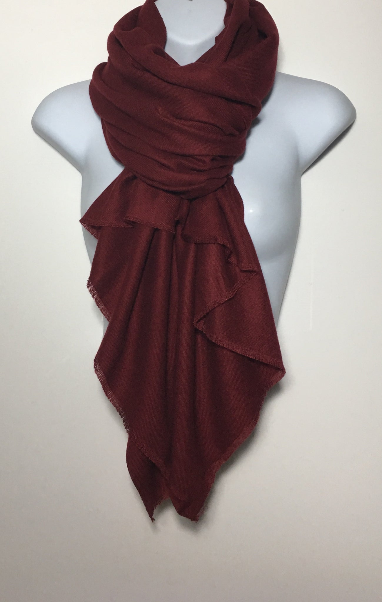 Super soft merlot colour plain edge scarf