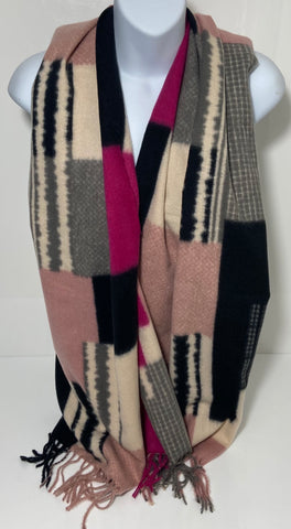 Super soft wool-mix pink block colour scarf