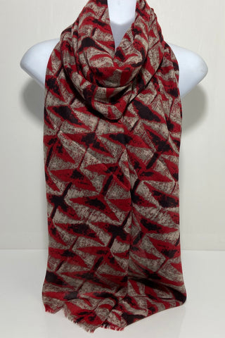 Red black and grey abstract printed scarf