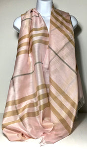 Silk mix checkerboard scarf in pink and stone