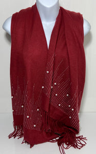 Super soft glitter studded pearl scarf in burgundy