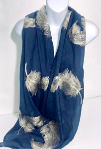 Embroidered feather/leaf scarf in mid-blue