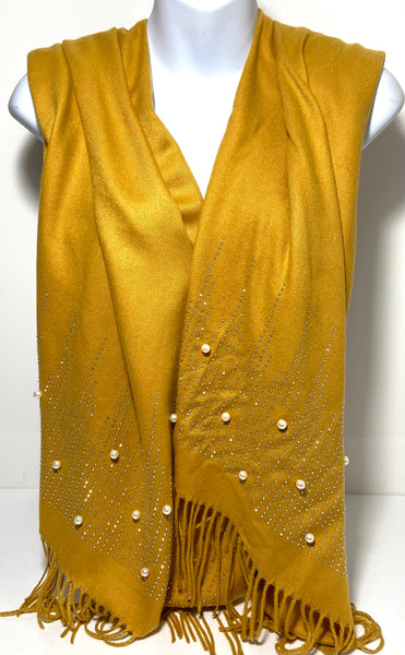 Super soft glitter studded pearl scarf in mustard