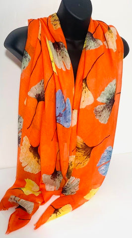 Orange multi-floral scarf