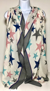 Printed star scarf in shades of blues, pink and aqua