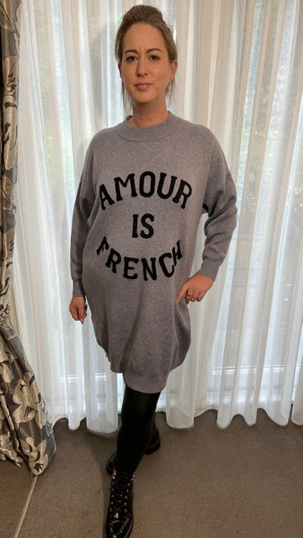 'Amour is French' viscose super soft stretchy jumper dress in mid-grey