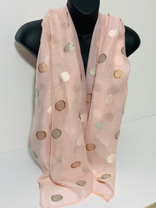 Silk mix embroidered dot scarf in pink