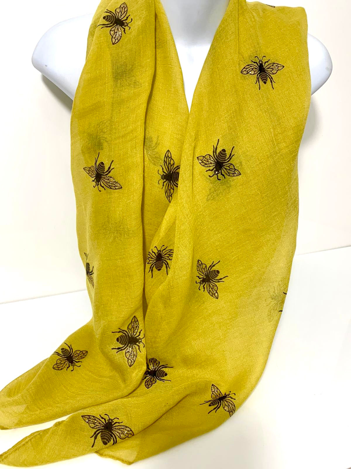 Chartreuse glitter bee scarf
