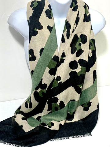 Khaki animal print scarf