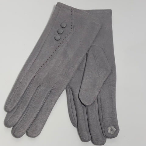 Grey button stitch gloves
