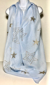 Baby blue scarf with gold glitter star detail