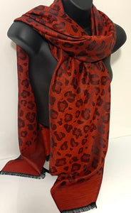 Silk-mix, red cheetah printed pashmina scarf