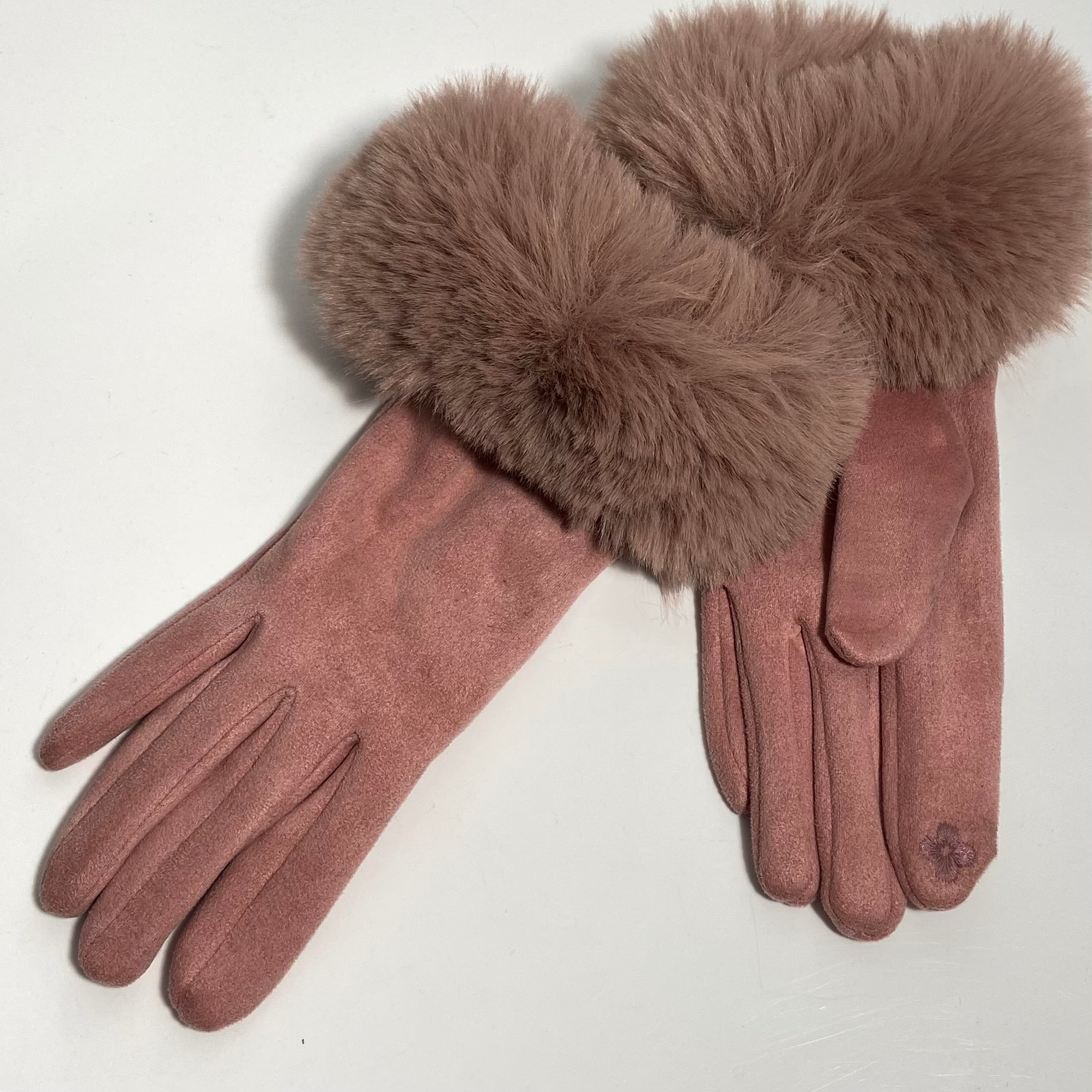 Pink Faux Fur Cuff Gloves