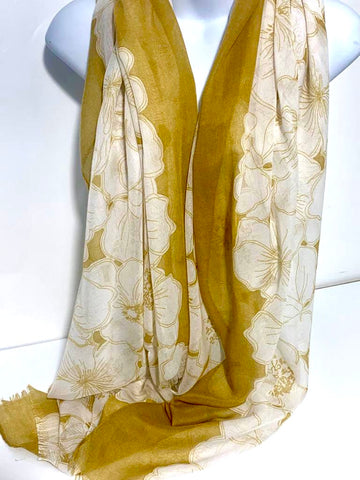 Floral print scarf in mustard and white