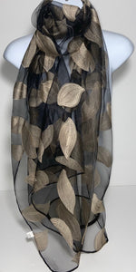 Silk mix embroiled leaf scarf in black and gold