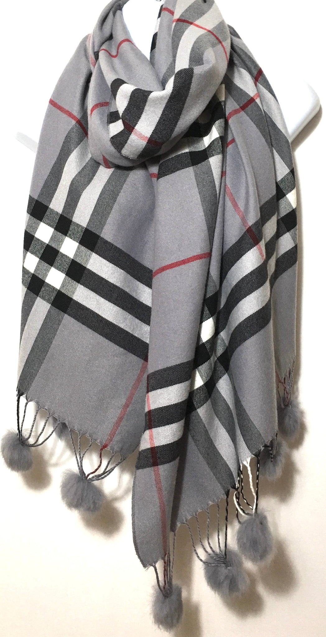 Grey checked cashmere & cotton blend scarf with pom poms