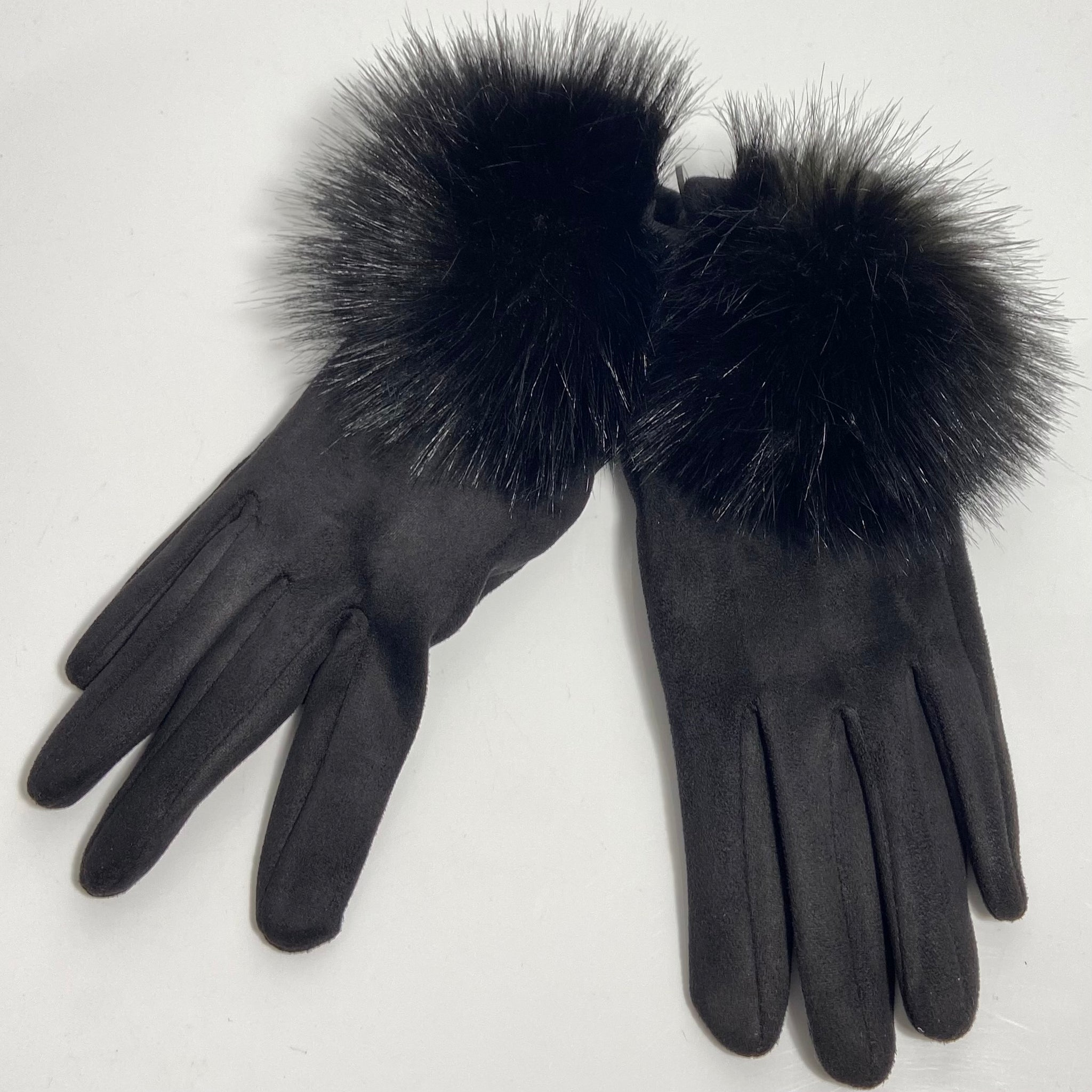 Black Faux Fur Ball Gloves
