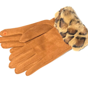 Tan coloured leopard print cuff faux fur gloves