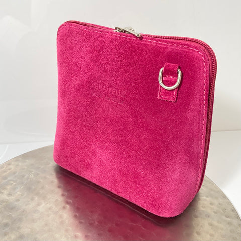 Fuchsia cross-body suede bag