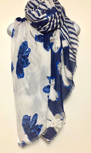 Blue, navy and white flower print scarf