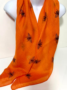Tangerine orange glitter bee scarf