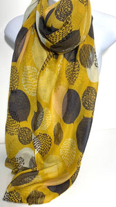 Mustard, white and brown scarf with leaf design