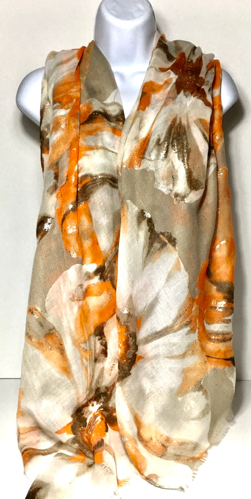 Orange and stone foil flower print scarf