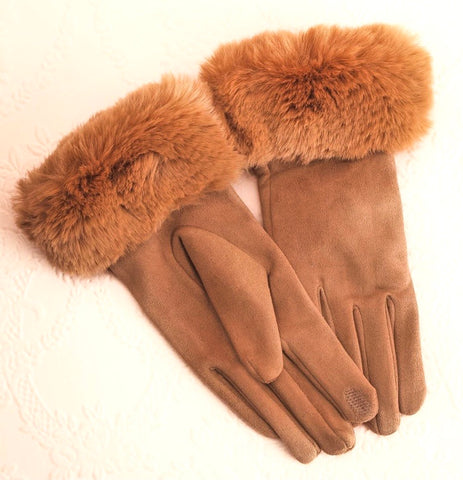 Tan Faux Fur Cuff Gloves